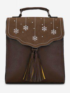 Multifunctional Tassel Design PU Leather Schoolback - Coffee
