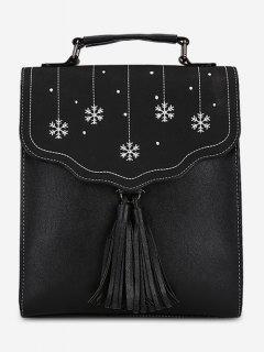 Multifunctional Tassel Design PU Leather Schoolback - Black