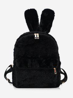 Faux Fur Rabbit Ear Shape Backpack - Black