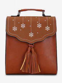 Multifunctional Tassel Design PU Leather Schoolback - Brown
