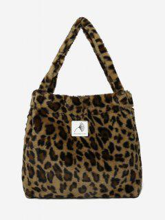 Artificial Furry Floral Pattern Shoulder Bags - Leopard