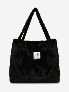 Artificial Furry Floral Pattern Shoulder Bags - Black
