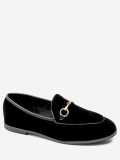 Metal Embellished Suede Loafers Flats - Black Eu 36