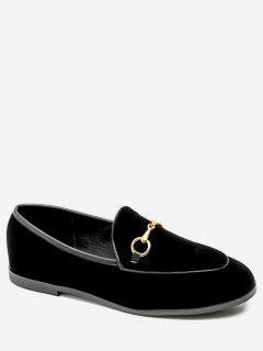 Metal Embellished Suede Loafers Flats - Black Eu 35