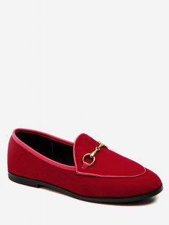 Metal Embellished Suede Loafers Flats - Rose Red Eu 39