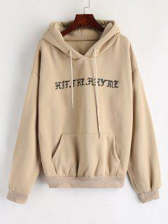 Pouch Pocket Graphic Fleece Hoodie - Camel Brown M