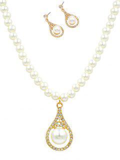 Rhinestone Faux Pearl Wedding Jewelry Set - Gold