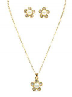 Faux Pearl Floral Pendant Necklace - Gold