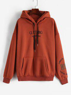 Pouch Pocket Embroidered Fleece Hoodie - Cherry Red M