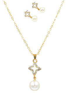 Sparkly Rhinestone Star Faux Pearl Jewelry Suit - Gold