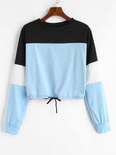 Drawstring Color Block Pullover Sweatshirt - Light Blue M