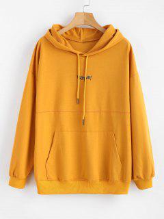 Drop Shoulder Embroidered Pouch Pocket Hoodie - Sandy Brown L