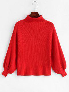 Suéter De Punto De Hombro Caído - Rojo