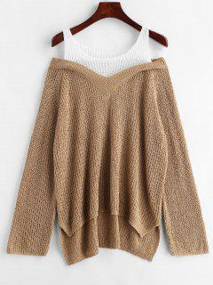 Asymmetrical Two Tone Chunky Sweater - Tan