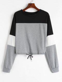 Drawstring Color Block Pullover Sweatshirt - Gray M