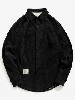 Solid Fleece Lined Corduroy Shirt - Black M