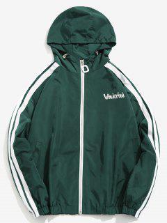 Side Striped Graphic Windbreaker Jacket - Greenish Blue L