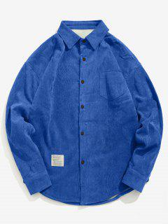 Solid Fleece Lined Corduroy Shirt - Blue 2xl