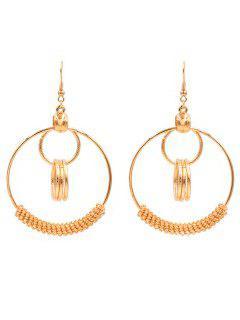 Round Geometric Shape Drop Punk Earrings - Gold
