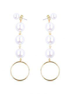 Dangling Faux Pearl Round Drop Earrings - Gold