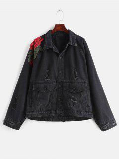 Embroidery Raglan Sleeve Ripped Denim Jacket - Black