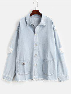 Single Breasted Ripped Denim Jacket - Baby Blue L
