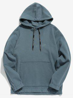 Solid Color Fleece Drawstring Hoodie - Blue Gray M