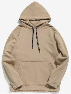 Solid Color Fleece Drawstring Hoodie - Light Khaki M