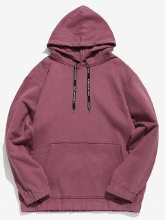 Solid Color Fleece Drawstring Hoodie - Pale Violet Red M