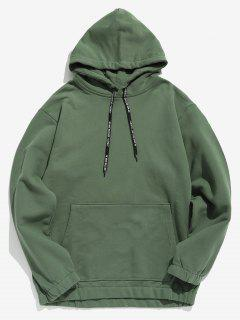 Solid Color Fleece Drawstring Hoodie - Hazel Green L