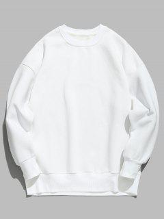 Candy Color Fleece Sweatshirt - White L