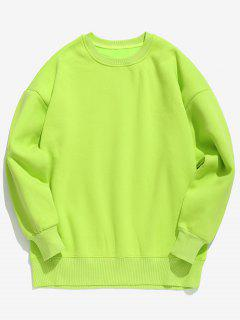 Candy Color Fleece Sweatshirt - Yellow Green Xl