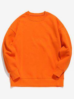 Süßigkeit-Farben-Fleece-Sweatshirt - Hellorange Xl