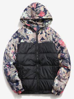 Flower Print Letter Striped Padded Jacket - Black L