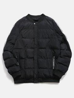 Sleeve Striped Padded Bomber Jacket - Black Xs