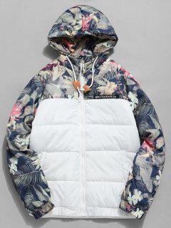 Flower Print Letter Striped Padded Jacket - White L