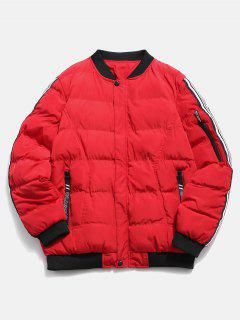 Sleeve Striped Padded Bomber Jacket - Red M