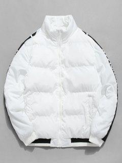 Side Letter Stripe Puffer Jacket - White Xs
