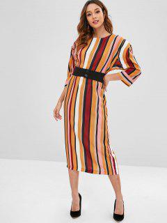 Belted Stripes Midi Dress - Multi S