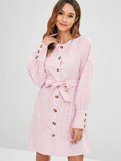 Button Up Striped Dress With Belt - Light Pink L