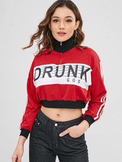 Striped Graphic Half Zip Sweatshirt - Lava Red M