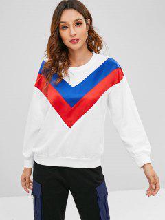 Tricolor Chevron Panel Pullover Sweatshirt - White S