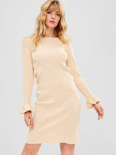 Bodycon Bell Sleeve Sweater Dress - Apricot