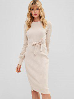 Belted Bodycon Pencil Sweater Dress - Apricot