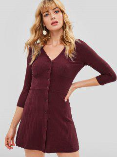 Ribbed Button Front Mini A Line Dress - Red Wine L