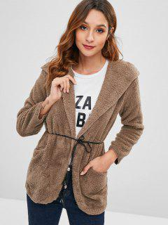 Hooded Tunic Fluffy Coat - Coffee