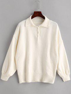 Half-button Drop Shoulder Sweater - Warm White