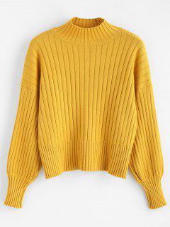 Fallengelassener Shoulder Mock Neck Sweater - Dunkel Gelb