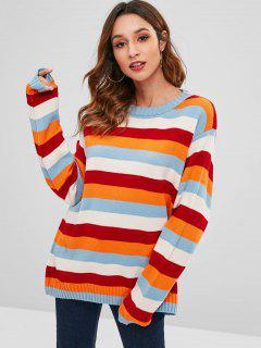Drop Shoulder Colorful Striped Casual Sweater - Multi