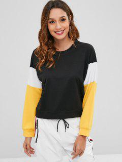 Pullover Round Neck Sweatshirt - Black S